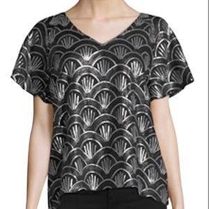 NWOT Tahari Art Deco Sequin Top